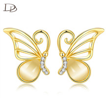 Romantic Pendant Women Studs Earrings Butterfly Unique Ear Imitated Pearl Jewels Rose 585 Gold color Wedding Bijoux Gift dne262