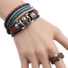 Punk Hippy Style Suite Three-piece Real Leather Bracelet Skull Ring New Jewelry Sets 12sets/lot Free Shipping