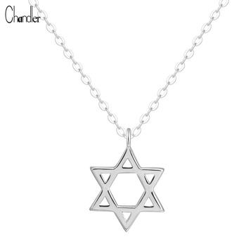925 Sterling Silver David Star hexagon Pendants Necklaces For Women Tiny Drop Mujer Long Chain Colier Geometric Fashion Jewelry