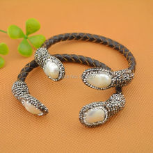 Charm 4Pcs Natural Freshwater Pearl Bangle Bracelet, With Crystal Zircon Leather Cord Bracelets, Druzy Jewelry Bangle
