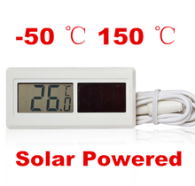 100pcs by dhl fedex Solar Powered Digital LCD Thermometer -50 degree to 150 degree Sensor Cable Temperature meter 40% off