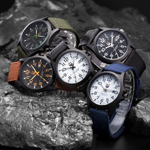 Cheap Wholesale Army Watches Men Nylon Band Man Casual Date Quartz Watch Boys Gifts Wrist Watch Male Sports Hours relogio montre(China)