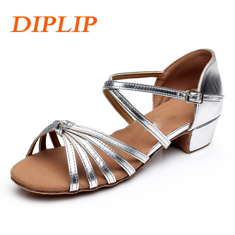 DIPLIP New children Ballroom dance shoes Kids child girl's latin tango modern Sneakers dance shoes soft Girls Shoes Salsa(China)
