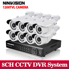 New 8CH AHD 1080N recording dvr system with 8pcs 1.0mp IR 1200tvl outdoor security camera system cctv dvr kit 8ch dvr nvr Set