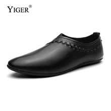 YIGER 새 여름 Man 로퍼 Driving Shoes Genuine Leather 캐주얼 Man 레저 완두콩 화 Slip-on Shoes very 빛 0113(China)