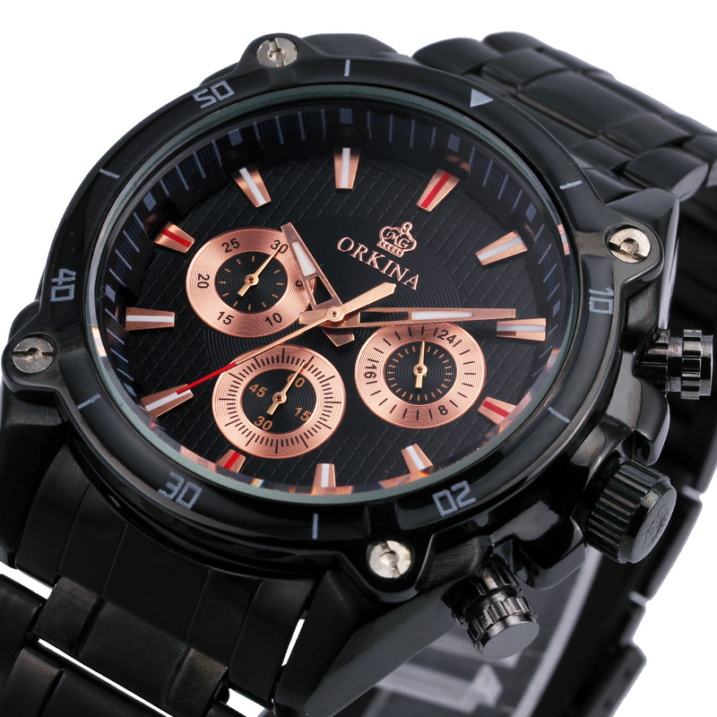 ORKINA 2017 Military Mens Wathces Top Brand Luxury Male Quartz Wristwatches Titanium Black Stainless-steel Band Rose Gold Dial<br><br>Aliexpress