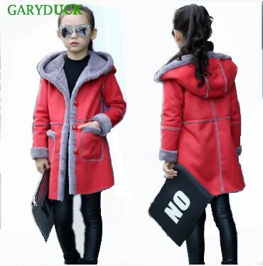 GARYDUCK 2017 Winter Girls coats Kids fur Wool Jackets Girl Snow Outerwear Outdoor kids clothes Red/Pink/Purple Overcoats <br>