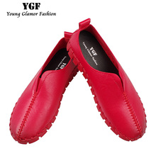 YGF Women Platform Loafer Slip on Casual Shoes 2017 Fashion Leather Flats Handmade Shoes Comfortable Soft Woman Flats Creepers