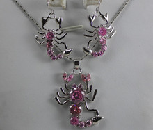 fashion crystal jewelry Jewellery Pink Crystal Scorpion earrings &pendant(China)