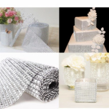 Diamond Mesh Wrap Ribbon Roll Row for Party Banquet Chair Cover Plastic Ribbon Bow Wedding Decorations 900cm*12cm 7ZHH195(China)