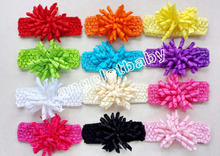 12pcs  Christening Crochet headband bows corker Hair clip hair barrettes girl korker hair bands Woven headbands  PD011