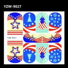 YZWLE 1 Sheet Nail Art Decal Star Holiday Tree Designs Full Cover Water Transfers Stickers For Nails DIY Decoration Accessories(China)