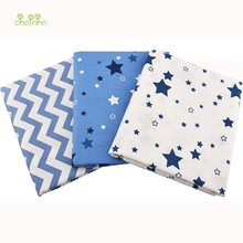 Chainho 3pcs/lot,Twill Cotton Fabric,Blue Star Patchwork Cloth,DIY Sewing Quilting Fat Quarters Material For Baby & Children(China)