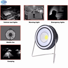Portable Solar Power 3W USB Rechargeable COB Camping Light with Mini Rotation Fan 7H Using Time Camping Tent Light DC4.5V(China)