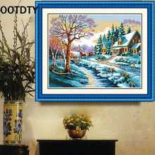 OOTDTY DMC Home Decoration Cross-Stitching Handmade Needlework Cross Stitch Kit Precise Printed Winter Wonderland Garden Design(China)