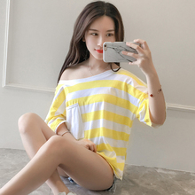 2017 New Summer Fashion Striped Short Sleeve Back Strapps Blouse Shirt Green Yellow Black Pieces Red 771