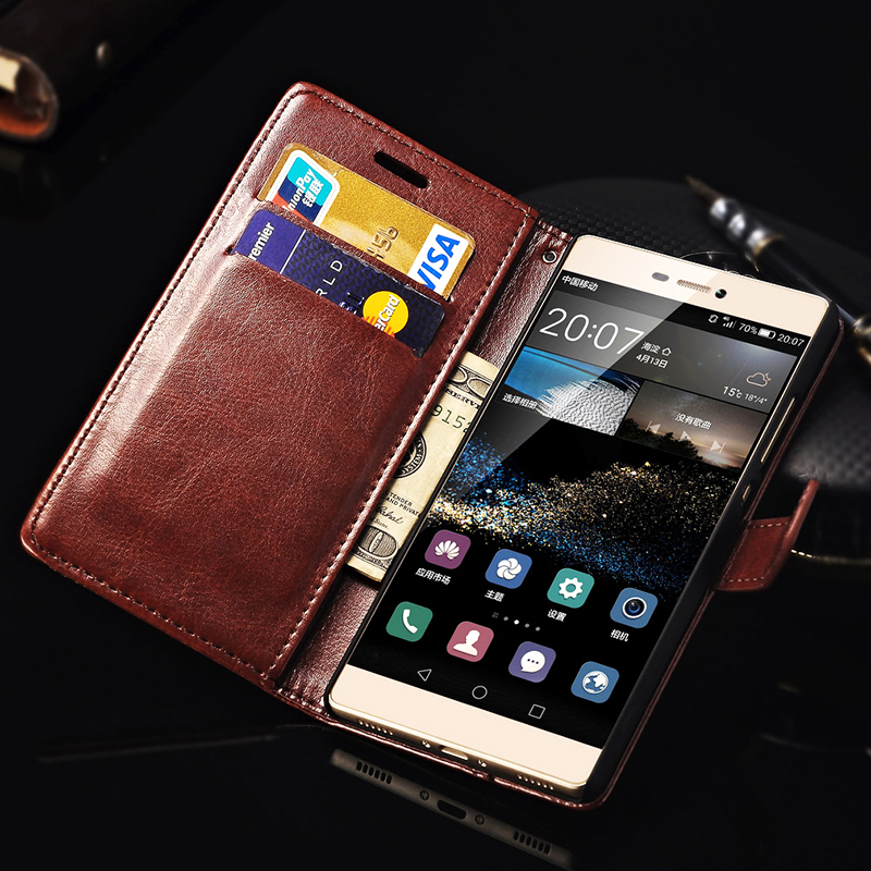 For Huawei P8 Case Cover With Stand Flip Wallet PU Leather Phone Bag Back Cover Case For Huawei P8 Tomkas Black Brown(China (Mainland))