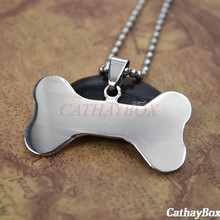 Silver Tone Stainless Steel Bone Shaped Blank Plain Name Pet ID Tag Dog Cat Pendant Necklace 60cm Long