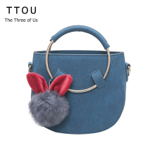 TTOU Women Suede Leather Saddle Bag Cute Rabbit Pendant Messenger Bag AW New Shoulder Bag Youth Girls Fashion Crossbody Bag(China)