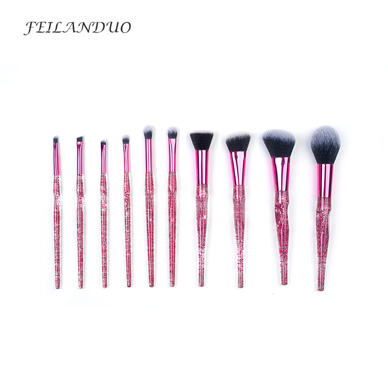 FEILANDUO10 Pcs Makeup Brushes Set Eyeshadow Foundation Powder Brush Accessories Beauty Professional Cosmetic Brush Tool Kit<br>