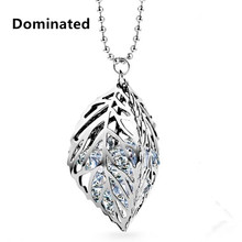 Dominated Women Pendant Necklaces All-match Crystal Hollow Leaves Sweater Chain(China)