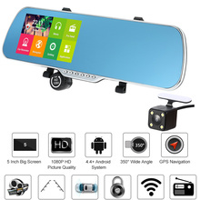"5"" Car DVR Mirror Video Recorder Camcorder 1080P Android GPS Navigation Car Front Rearview Mirror Camera Dual Lens Night Vision(China)"