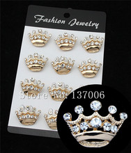 danbihuabi Brooches bouquet 12pcs/lot Cheap Costume Jewelry Rhinestone Crown Brooch Wholesale King Crystal Brooch for Women(China)