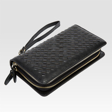 Wholesale leather  hand bag woven double zipper long purse Men's fashion leisure Day Clutches man women women leather Wallets