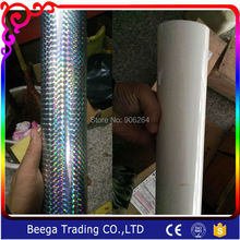Laser Grid Silver Color Or Milk White PVC Foil Paper Hot Stamping Heat Transfer Custom Size Card Emboss 80mmX120m