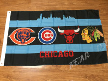 Chicago City All Team Flag Blackhawks Cubs Bears Bulls Flag 3X5FT Chicago All Day Flag brass metal holes two sizes can Choose(China)