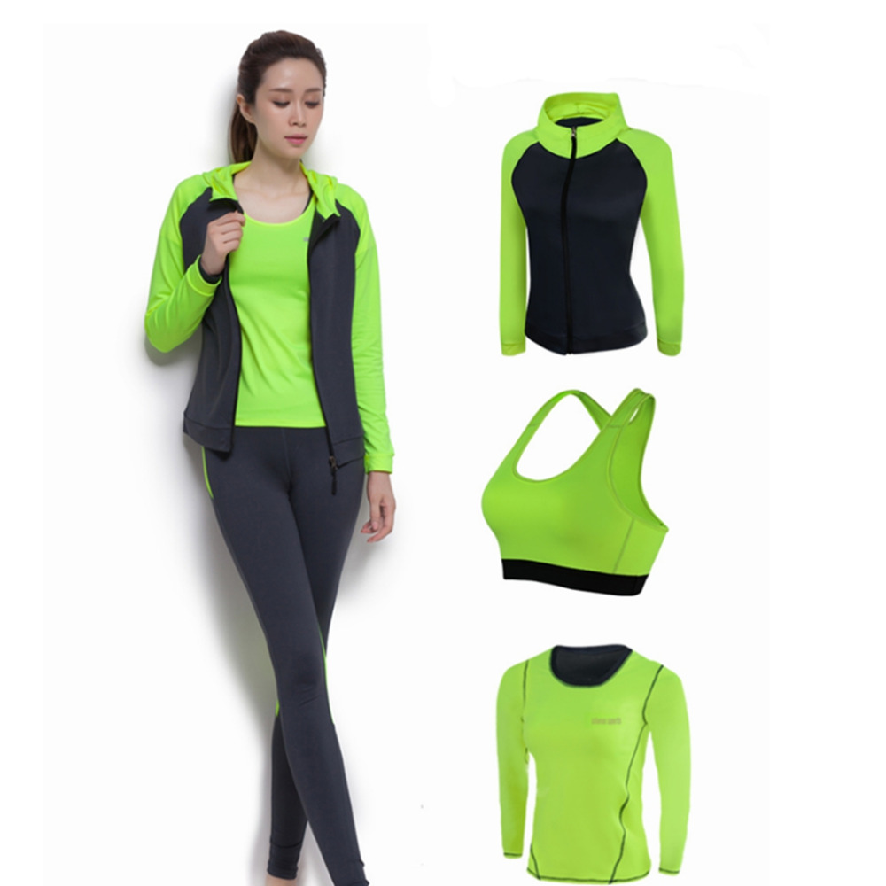 Winter Yoga Clothing Four Suit Long-Sleeved Slim Bra Shock Sports Fitness Female<br><br>Aliexpress