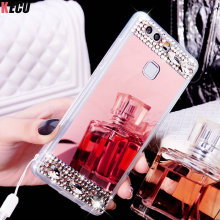 Mirror Diamond Stone Soft TPU Back Cover for Huawei P8 P9 P10 Lite Plus 2017 Mate 8 9 5 Nova Bing case for Huawei P9 Lite Shell(China)