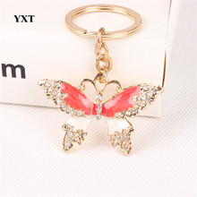 New Dragonfly Tombo Cute Crystal Charm Pendant Purse Handbag Car Key Ring Keychain Party Creative Fashion Gift For Friend