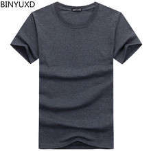BINYUXD Cotton Men T-shirts Classical 2017 Short Sleeve O-neck Solid Color Loose Basic Tshirt Casual Fitness Men Bottoming shirt(China)