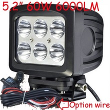"Free DHL/UPS Ship,5.2"" 60W 6000LM 10~30V,6500K,LED working light;Free ship!Optional wire;motorcycle light,forklift,tractor light"