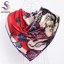 [BYSIFA] Winter Red Silk Scarf 2017 New Women Accessories Large Square Scarves Wraps Fashion Gift Women Neck Scarf Headscarves