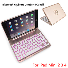 For Mini2/3/4 High-Quality 7 Colors Backlit Light Wireless Bluetooth Keyboard Case Cover For iPad Mini 2 Mini 3 Mini 4 + Gift