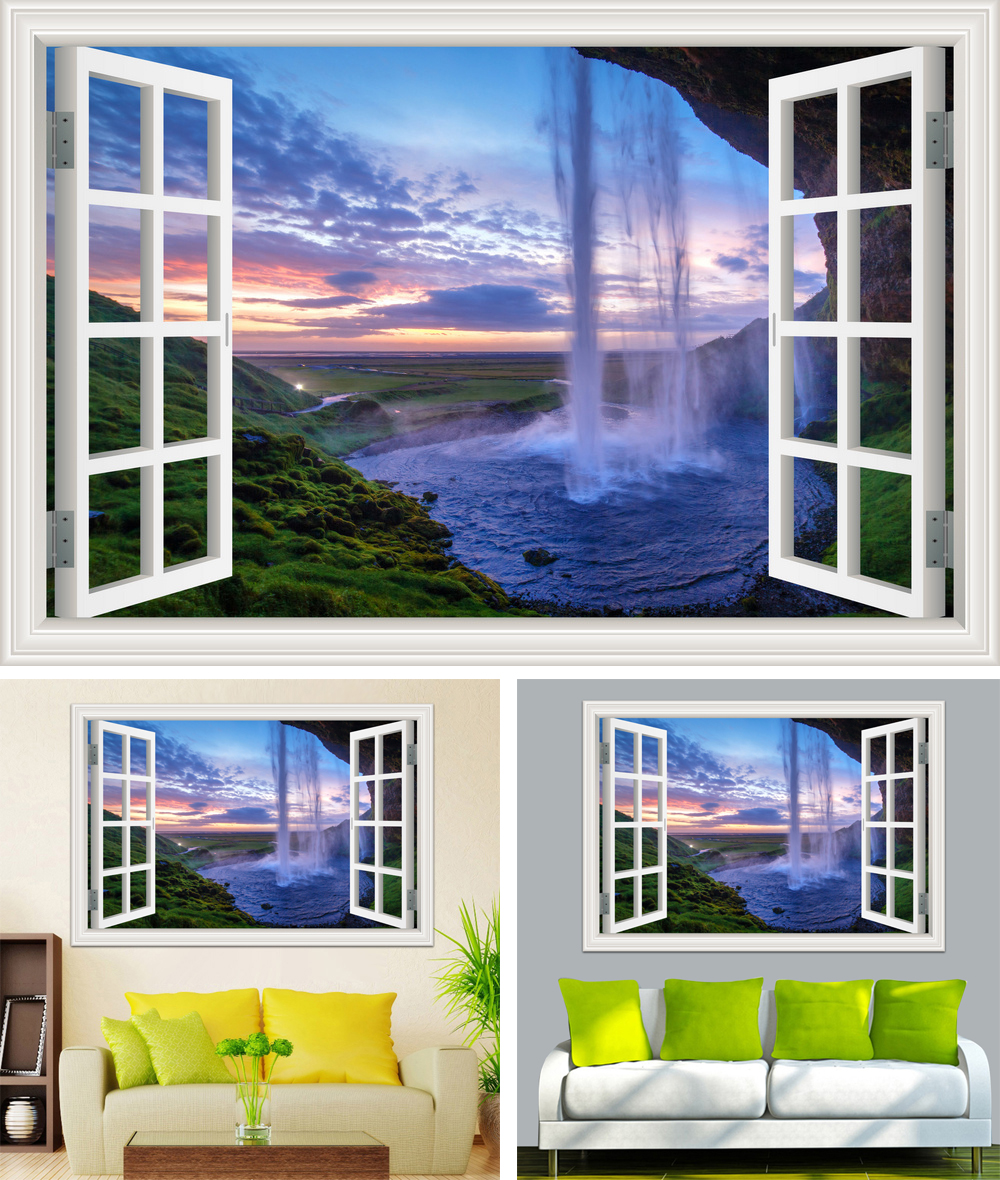 HTB1g9dih nI8KJjy0Ffq6AdoVXac - Waterfall 3D Window View Wallpaper Nature Landscape Wall Decals for Living Room