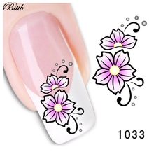 Bittb 2pcs Flowers Nail Art Stickers Decals Water Transfer Nail Decal Sticker Nails Wrap Temporary Tattoos French Manicure Tools(China)