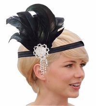 1 Piece Fashion Elegant Headband Hairwear Vintage Women Crystal Feather Head Bands Jewelry