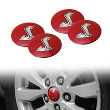 4x 56.5mm Red Cobra Car Auto Steering Wheel Center Hub Cap Emblem Badge Stickers for Ford Mustang Shelby