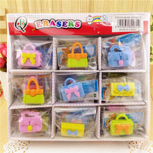 Free ship!1lot=36pc!Creative cartoon cute hand bag rubber eraser/ stationery for children students
