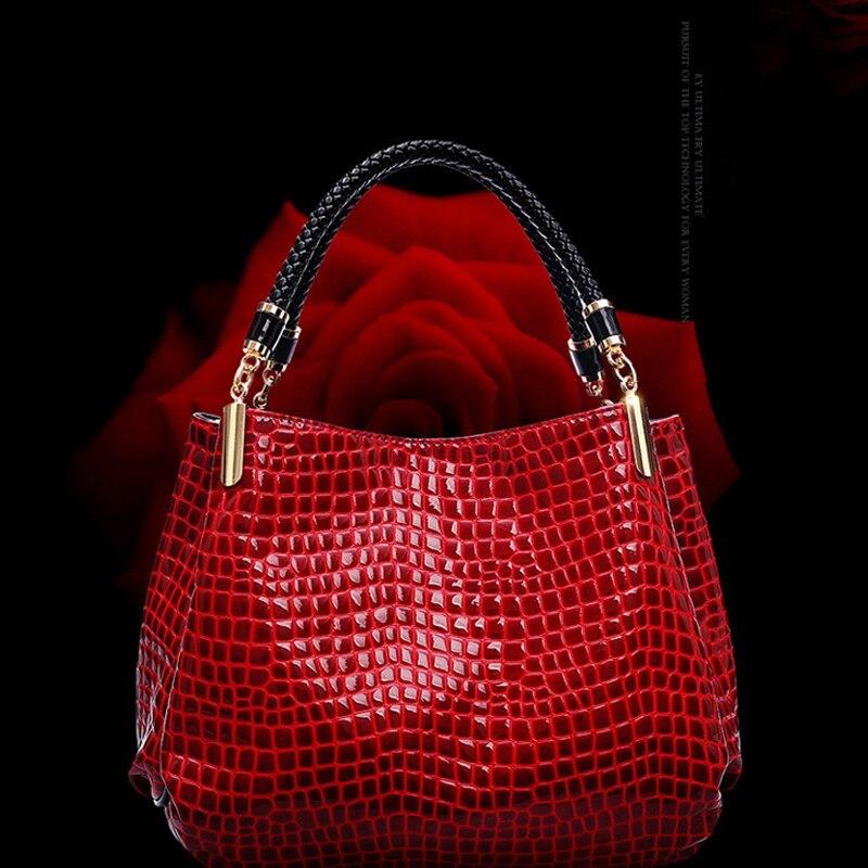 2017 New RED Crocodile PU leather Handbags Tote Fashion Ladies Shoulder Messenger Bags soft Women Bag bolsa femininas<br>