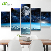 5 Panel Modern Printed Space Universe Landscape Paintings Canvas Picture Cuadros Earth Painting For Living Room No Frame XY284(China)