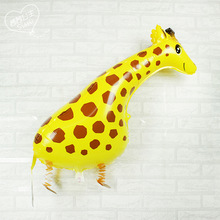 Lucky 10pcs/lot Cute Giraffe Shaped Walking Balloon Animal Inflatable Foil Balloons Kids Classic Toys Party Decorations Globos(China)