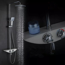 Thermostatic shower set with white bathroom bath mixer bath shower wall faucet bathroom shower set thermostatic shower mixer
