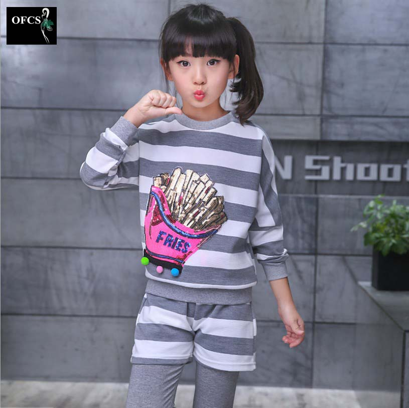 2017 New Personality Clothing Set Suit Girls Fall Clothing Children Stripe Sequins Fries 2 PCS Tide Childrens Clothes 2Color<br><br>Aliexpress