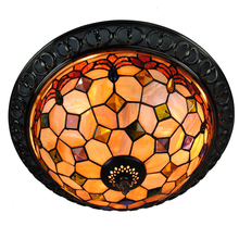 Retro Tiffany Stained Shell Flush Mount Light E26/E27 European Vintage Ceiling Lamps For Bar Kitchen Dining Room Lighting CL220