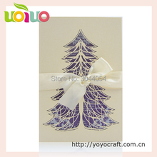 Christmas decoration lovely unique laser cut christmas tree greeting cards handmade Christmas day invitation cards bulksale(China)
