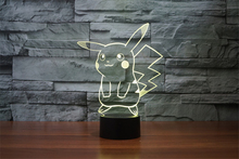 Kawaii Pokemon Pikachu Action Figure Toy Pokemon Go Collection 7color Changing Kids Bedroom 3D Illusion Night Light Xmas Gift